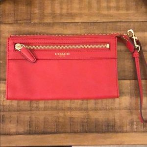 Coach Red leather wristlet/wallet/clutch